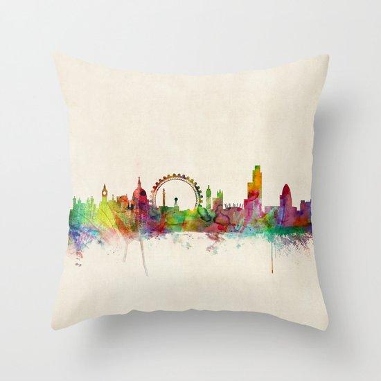 London Skyline Watercolor Throw Pillow