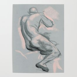 Nude male model, life sketch Poster