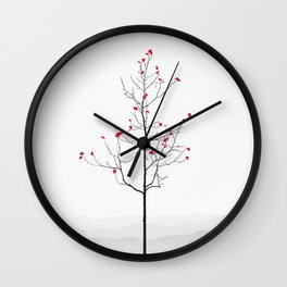 Twig Tree - Crimson Wall Clock