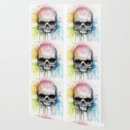Skull Rainbow Watercolor Wallpaper