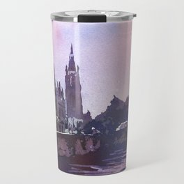 Church rising over medieval buildings of Bruges, Belgium at Jan Van Eyck Square.  Watercolor painting of Bruges Belgium art. Travel Mug
