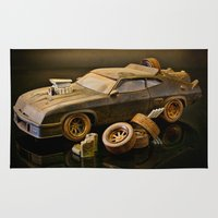 mad max Area & Throw Rugs featuring Mad Max Interceptor by Ewan Arnolda