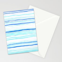 Watercolor Linear Blue Stationery Cards