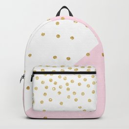 Elegant modern girly faux gold glitter confetti Backpack
