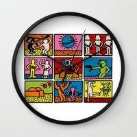 keith haring Wall Clocks featuring Haring - étoiles W. by Krikoui