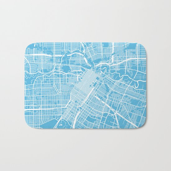 Houston map blue Bath Mat