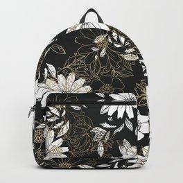 Modern black white faux gold elegant floral Backpack