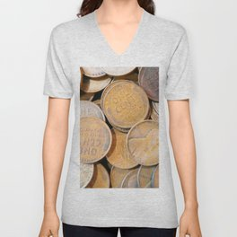 Watercolor Coins, Lincoln Wheat Pennies, 1938 04 Unisex V-Neck
