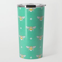 Bumblebee Stamp on Seafoam Travel Mug