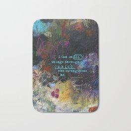 Phillipians 4:13 Bible Verse Scripture Abstract Art by Michel Keck Bath Mat
