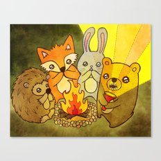 Woodland Campfire Stories Canvas Print