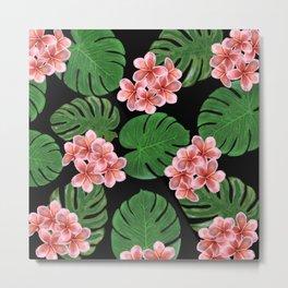 Tropical Floral Print Black Metal Print
