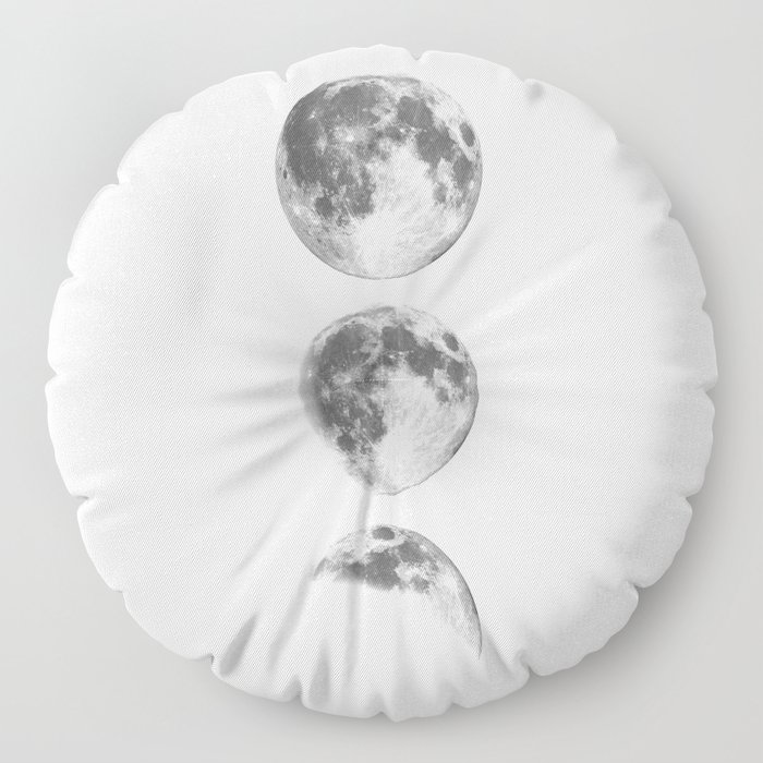 Full Moon cycle black-white photography print new lunar eclipse poster bedroom home wall decor Floor Pillow