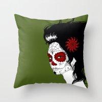 calavera Throw Pillows featuring Calavera by Griboedova Nat
