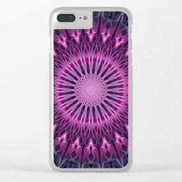 Glowing pink mandala Clear iPhone Case