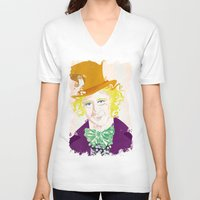 willy wonka V-neck T-shirts featuring Wilder Wonka by Joshua A. Biron