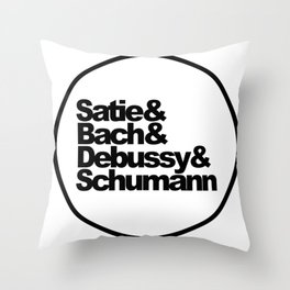 Satie, Bach, Debussy, Schumann, Classical Music Composers, white bg Throw Pillow
