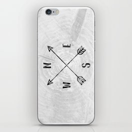 Black and White Wood Grain Compass iPhone Skin