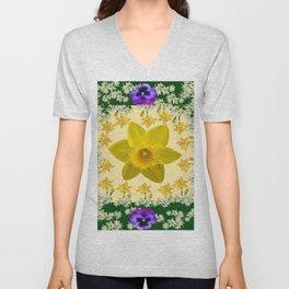 GREEN SPRING PANSIES DAFFODILS FLOWERS GARDEN MODERN ART Unisex V-Neck