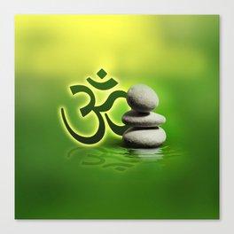 OM symbol  with zen stones on gentle green Canvas Print