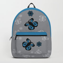 Swirly Butterfly and Flower Design Black, Grey, Blue Color Splash Backpack