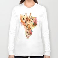 giraffe Long Sleeve T-shirts featuring giraffe by RIZA PEKER