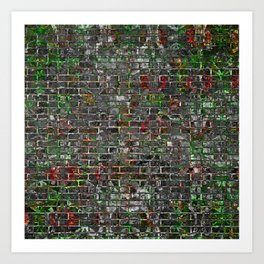 Grunge Wall Of Mould And Green Art Print