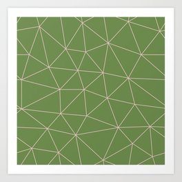Green Background Triangular Pink Lines Art Print