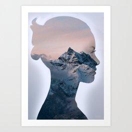 Mountain Woman - Double Exposure Poster Art Print