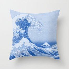 Cerulean Blue Porcelain Glaze Japanese Great Wave Throw Pillow
