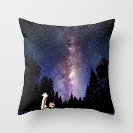 calvin and hobbes dreams Throw Pillow