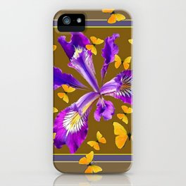 YELLOW & PURPLE BUTTERFLIES PURPLE IRIS PUCE iPhone Case