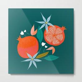 Summer Pomegranate, Tropical Fruit Illustration, Colorful Eclectic Bohemian Juicy Summer Botanical Metal Print