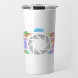 Watercolor Photography camera- Rainbow colored photography lover Travel Mug