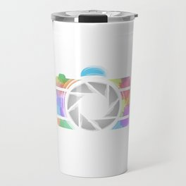 Watercolor Photography camera- Rainbow colored photography lover Travel Mug