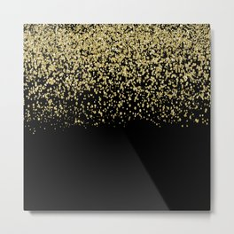 Sparkling gold glitter confetti on black background- Luxury pattern Metal Print