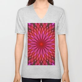 Pink,red and fuchsia color mandala Unisex V-Neck