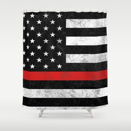 Thin Red Line Flag Shower Curtain