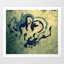 myth of dragon and the Phoenix Art Print