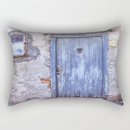 Old Blue Italian Door Rectangular Pillow