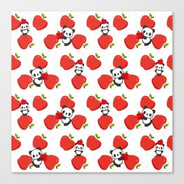 Pandas and Apples Canvas Print