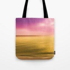 Gold Beach, pink sky, golden water, ocean, sea, lake, peaceful, peace, golden landscape, dream away Tote Bag