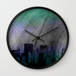 cityscape and colored sky -1- Wall Clock