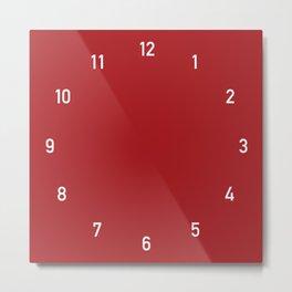 Numbers Clock - Red Metal Print