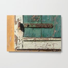 Old Wood an Rusty Grunge Barn Door Metal Print