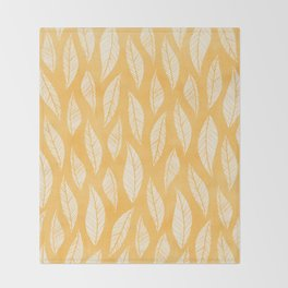 Modern Tropical Leaf Pattern - Yellow Throw Blanket