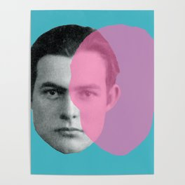 Hemingway - portrait pink and blue Poster