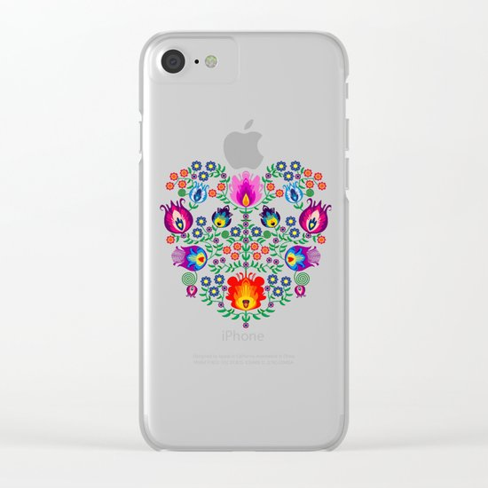 Folk Pattern Clear iPhone Case