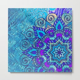 Colored Floral Abstract ART Painting Metal Print