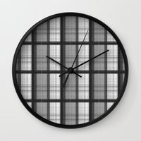 plaid Wall Clocks featuring Plaid by Jonna Ivin